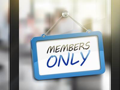 members only hanging sign, 3D illustration isolated on office glass door